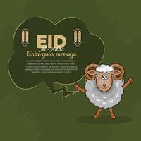 Tarjetas de felicitación de eid al-adha con ovejas dibujadas a mano y linternas en fondo verde. vector