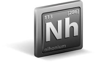 elemento químico nihonium. símbolo químico con número atómico y masa atómica. vector