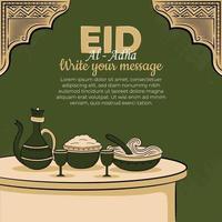 Tarjetas de felicitación de eid al-adha con comida musulmana dibujada a mano y adornos islámicos en fondo verde. vector