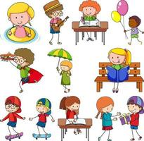 Set of different doodle kids cartoon character isolated vector