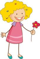 A doodle kid holding flower cartoon character isolated vector