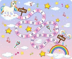 camino juego de mesa tema unicornio vector