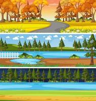 Set of different nature horizontal scenes vector