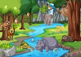 Wild animal in the jungle scene vector