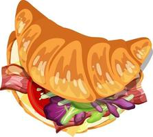 Top view of croissant with bacon and vegetable inside vector