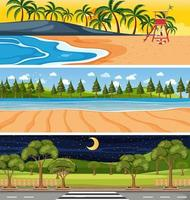 Conjunto de escenas horizontales de diferente naturaleza. vector