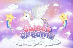 Pegaso con fuente de dulces sueños sobre fondo pastel vector