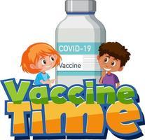 Fuente de tiempo de vacunación con niños y botella de vacuna. vector