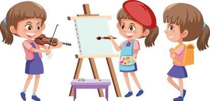 Set of a girl cartoon character doing different activities vector