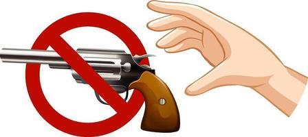 Ninguna pistola prohibida firmar con la mano sobre fondo blanco. vector