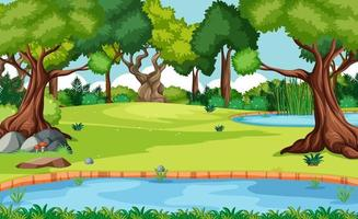 Nature forest landscape scene with many trees vector
