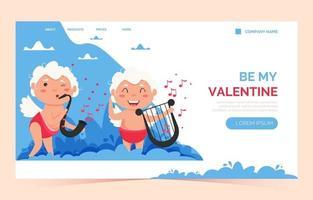 San Valentín cupido amor ángel página de inicio. lindo niño o niña cupido. ángel volador vector