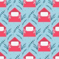 amor correo con tarjeta de San Valentín de patrones sin fisuras ... te amo sobre de tarjeta de papel.