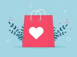 Valentines day shopping bag. Love gift paper bag vector