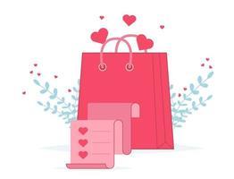 bolsa de compras del día de San Valentín con lista de compras. bolsa de papel de regalo de amor vector