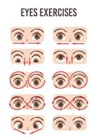 juego de ejercicios para los ojos. movimiento para la relajación de los ojos. globo ocular, pestañas y cejas.