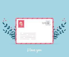Love mail with Valentine card. Love you paper card envelope. vector
