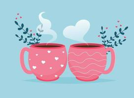 Valentine card with coffee cups Love you banner. Romantic holiday Valentine Day poster or greeting card. vector