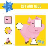 Cut and glue worksheet. Game for kids. Education developing worksheet vector