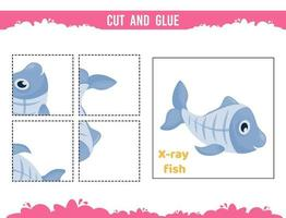Cut and glue worksheet. Game for kids. Education developing worksheet vector