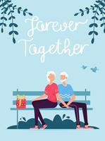 Senior couple sitting on bench. Loving couple on bench. Valentines day vector