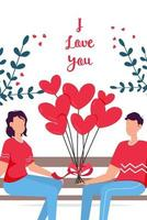 Valentines day romantic dating gift card. Lovers relationship two people. Couple sitting on bench. Loving couple. vector