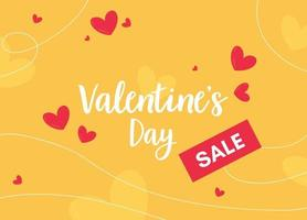 Valentines day card with red hearts. Valentine Day sale banner abstract shapes. Price promotion vector