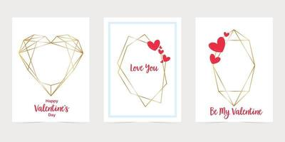 Valentines day card with gold hexagon frames. Love you paper card envelope. Gold polygonal frame cards vector
