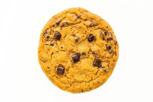 Chocolate chips bitscuit on white background photo