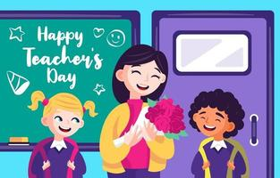 Teacher Receiving Flowers from Her Students vector