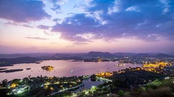 Udaipur city at lake Pichola in the evening, Rajasthan, India