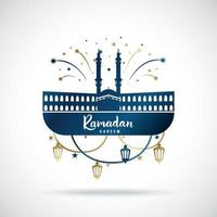 Greeting banner for islamic holiday Ramadan Kareem. vector