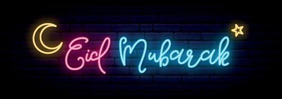 Eid Mubarak neon banner. Festive background and banner. vector