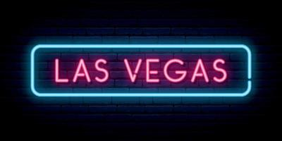 Las Vegas neon sign. Bright light signboard. vector