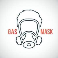 Man in gas mask line icon isolated on white background. vector