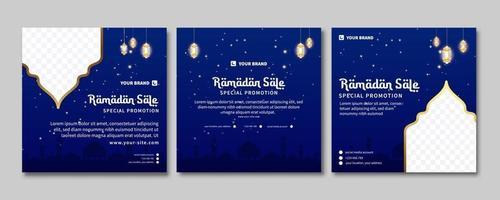 conjunto de banner de venta de Ramadán. banner de promoción web para tarjeta de felicitación, cupón, plantilla de publicación en redes sociales para evento islámico vector