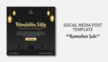 Plantilla de publicación de redes sociales de venta de Ramadán. banner de promoción web. concepto de diseño de volante para tarjeta de felicitación, cupón, plantilla de publicación de redes sociales para evento islámico