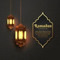 Diseño de fondo de saludo islámico Ramadán Kareem con linterna para tarjeta de felicitación, cupón, plantilla de publicación de redes sociales para evento islámico vector