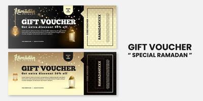 descuento de cupón de regalo de ramadan kareem en estilo de lujo para tarjeta de felicitación, cupón, póster, plantilla de banner para evento islámico vector