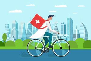 Medicine pharmacy delivery. Male doctor riding bicycle with medical sanitary box first aid on city park road. vector