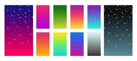 Soft color vibrant gradient modern screen vector ux ui design palette for mobile. Living smooth colorful background set in trendy colors with snowflake.