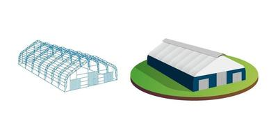 Awning tarpaulin tent temporary wireframe exhibition tunnel hall aircraft hangar. Barn construction building industrial warehouse carcass. vector