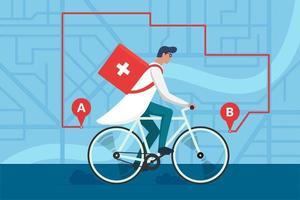 Entrega de farmacia de medicamentos. Médico varón montando bicicleta con botiquín médico quirúrgico sanitario de primeros auxilios en el plano del mapa de calles de la ciudad y la ruta de navegación.