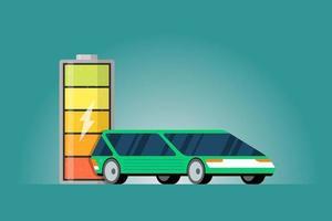 Indicador de energía cargada de batería de alta potencia eléctrica con icono de rayo y coche eléctrico verde. tecnología moderna de vehículos electrónicos y concepto de tecnología de transporte ecológico. vector