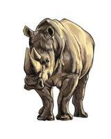 rinoceronte de un toque de acuarela, dibujo coloreado, realista. ilustración vectorial de pinturas vector