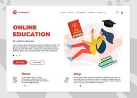 Online education course landing page template. E-learning website mockup with student teenager female and play video sign on cover book. vector