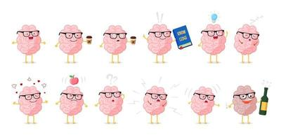 Brain emotions cute cartoon character set. Education and knowledge symbol. Human central nervous system healthy and sick organ funny collection. Vector illustration