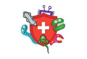 concepto de sistema inmunológico. Escudo rojo médico higiénico que protege de los gérmenes de virus y bacterias. vector