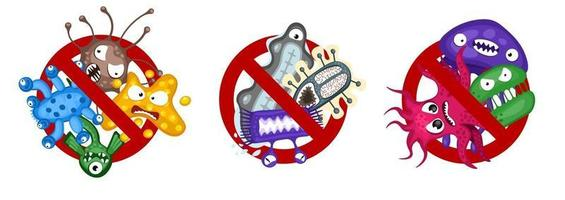 Stop spread virus symbol set. Cartoon germ characters isolated vector eps illustration on white background. Cute fly bacteria infection character. Microbe viruses and diseases protection