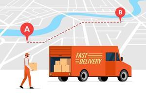Servicio de pedido de entrega rápida y seguimiento de rutas en línea en el concepto de mapa de la ciudad. Camión camión y mensajería masculina con caja de paquete. vector